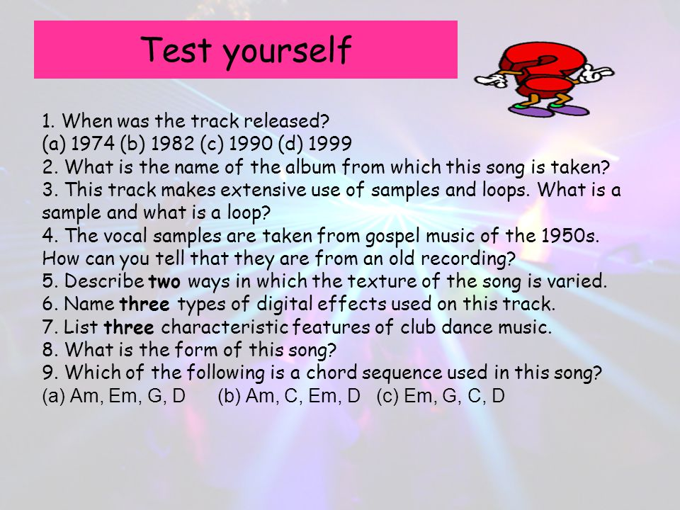 Test yourself 1. When was the track released