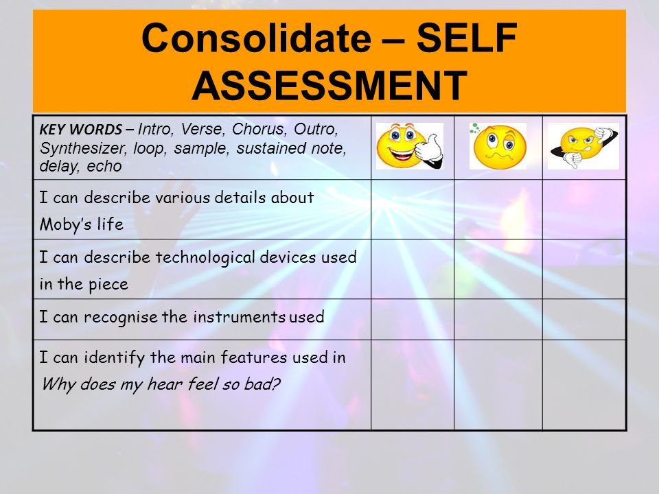 Consolidate – SELF ASSESSMENT