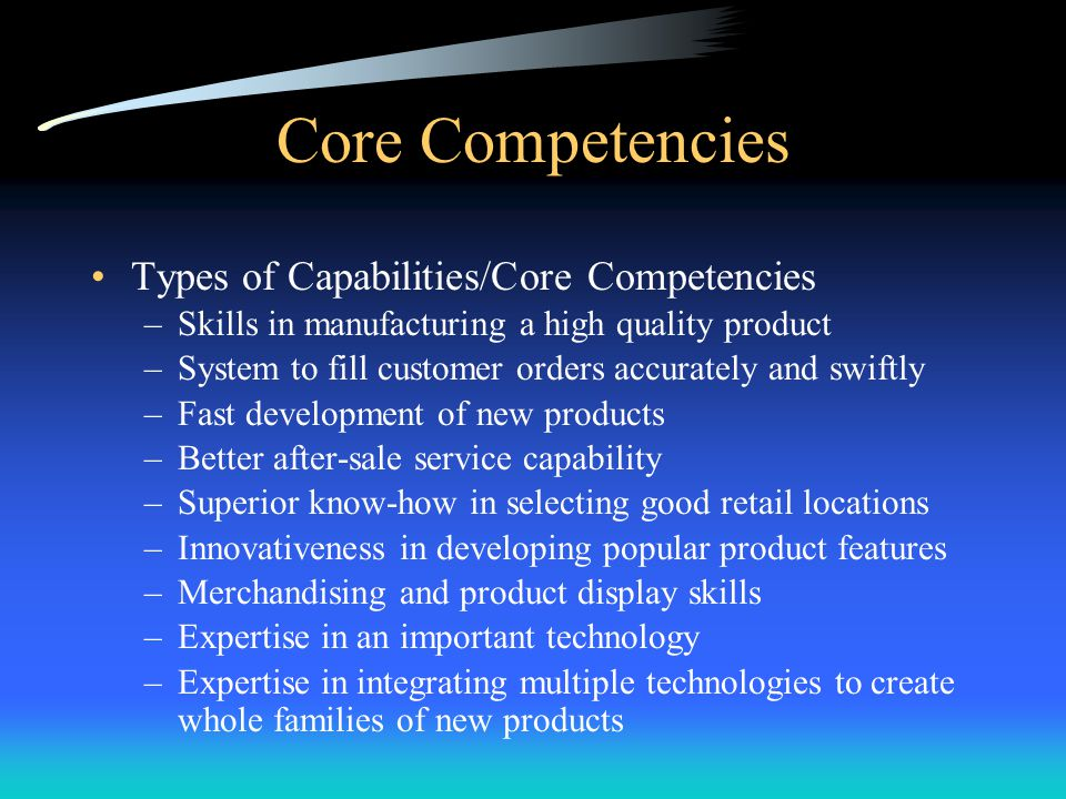 Core Competencies Types of Capabilities/Core Competencies
