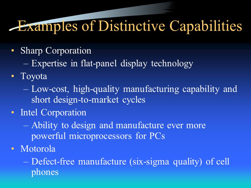 Examples of Distinctive Capabilities