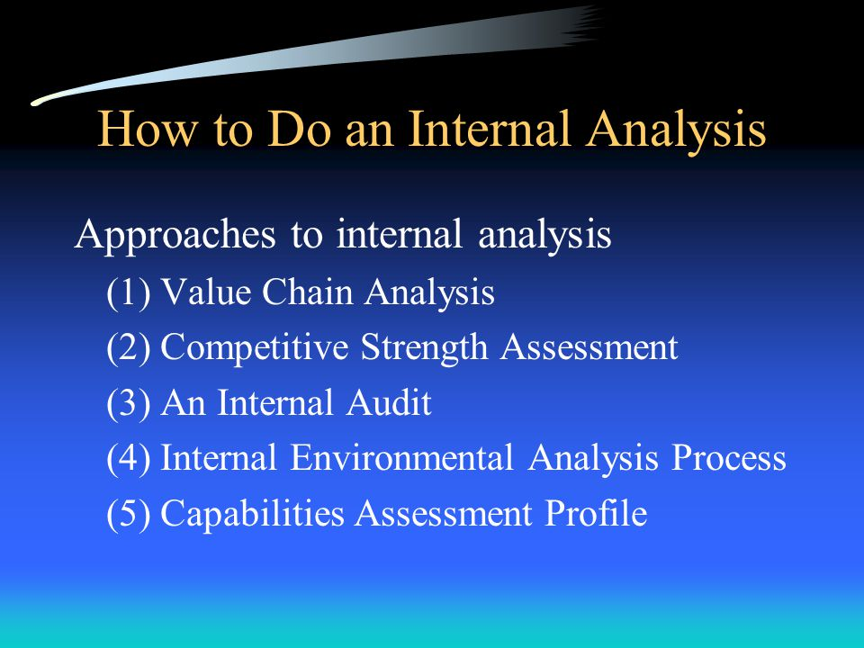 How to Do an Internal Analysis