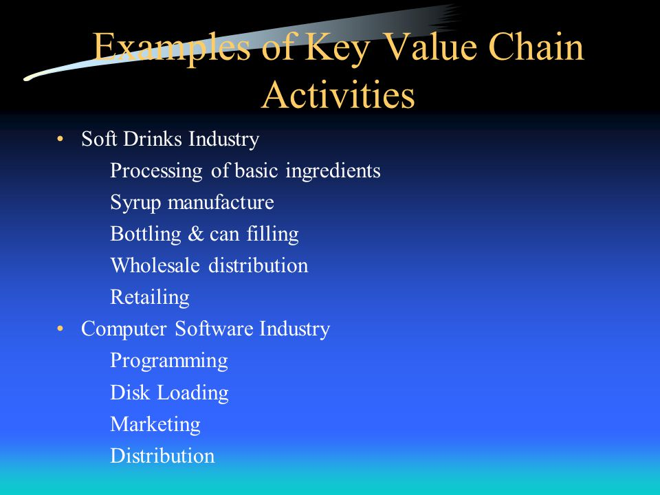 Examples of Key Value Chain Activities