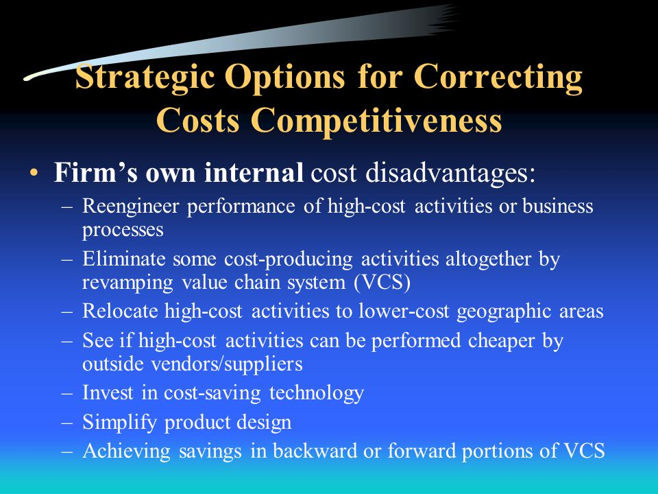 Strategic Options for Correcting Costs Competitiveness