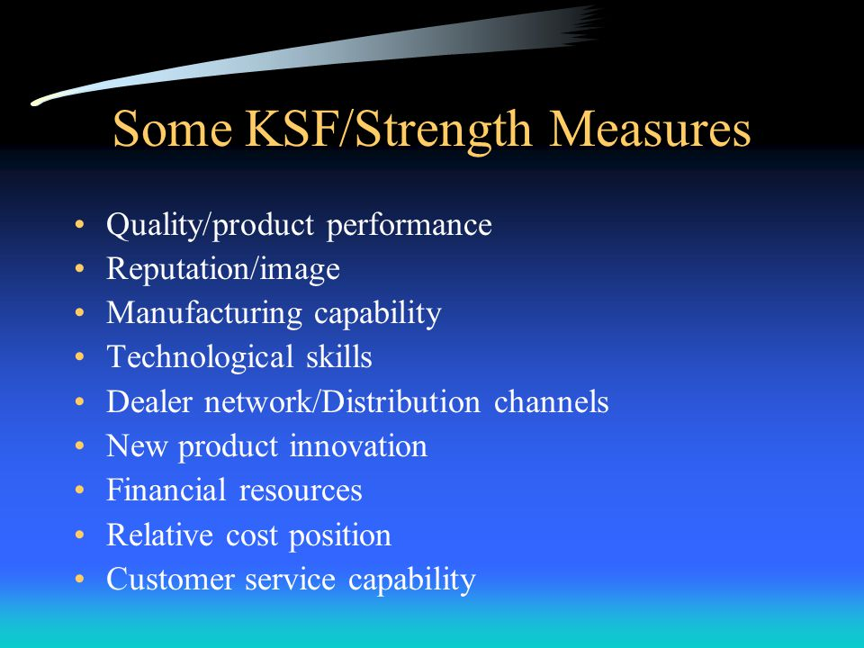 Some KSF/Strength Measures