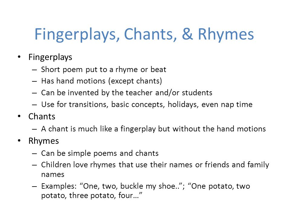 Fingerplays, Chants, & Rhymes