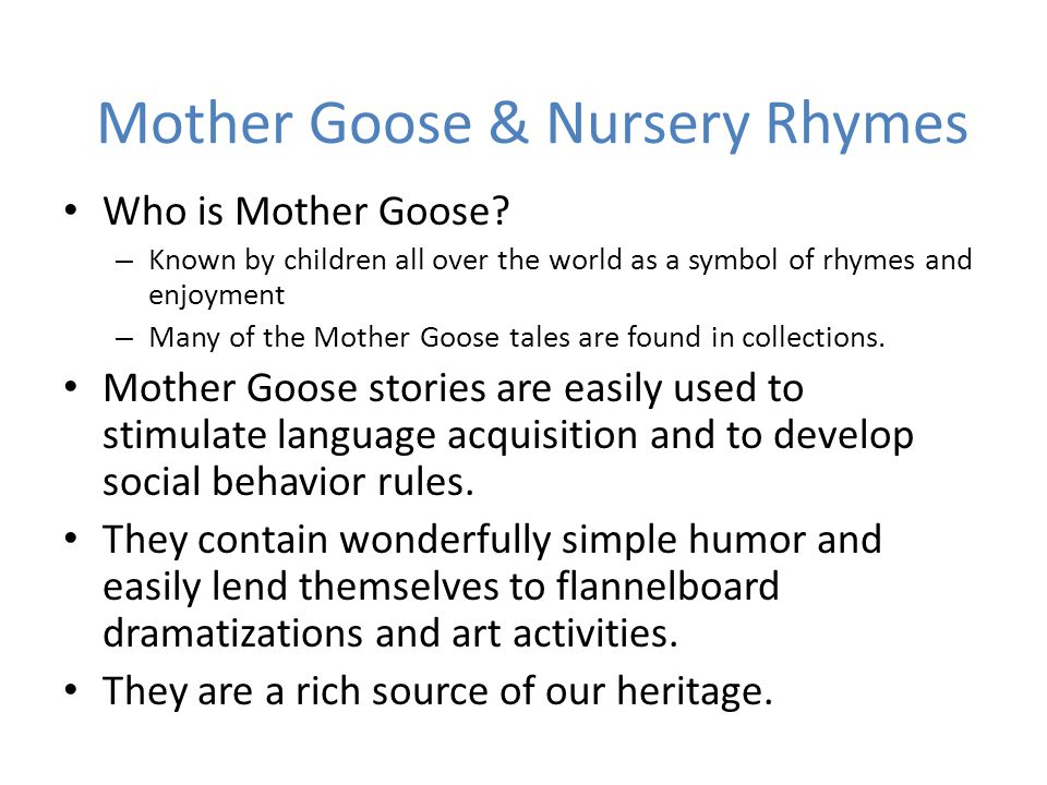 Mother Goose & Nursery Rhymes