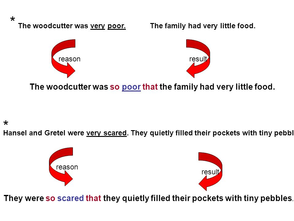 * * The woodcutter was so poor that the family had very little food.
