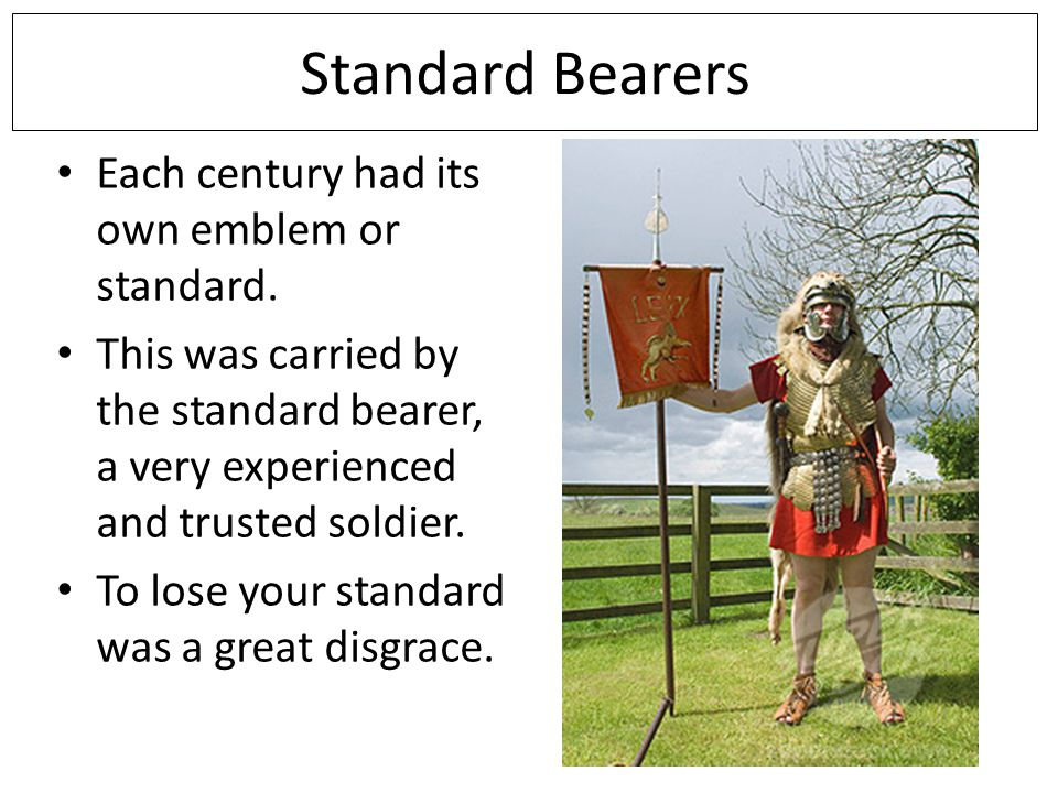 Standard Bearers Each century had its own emblem or standard.