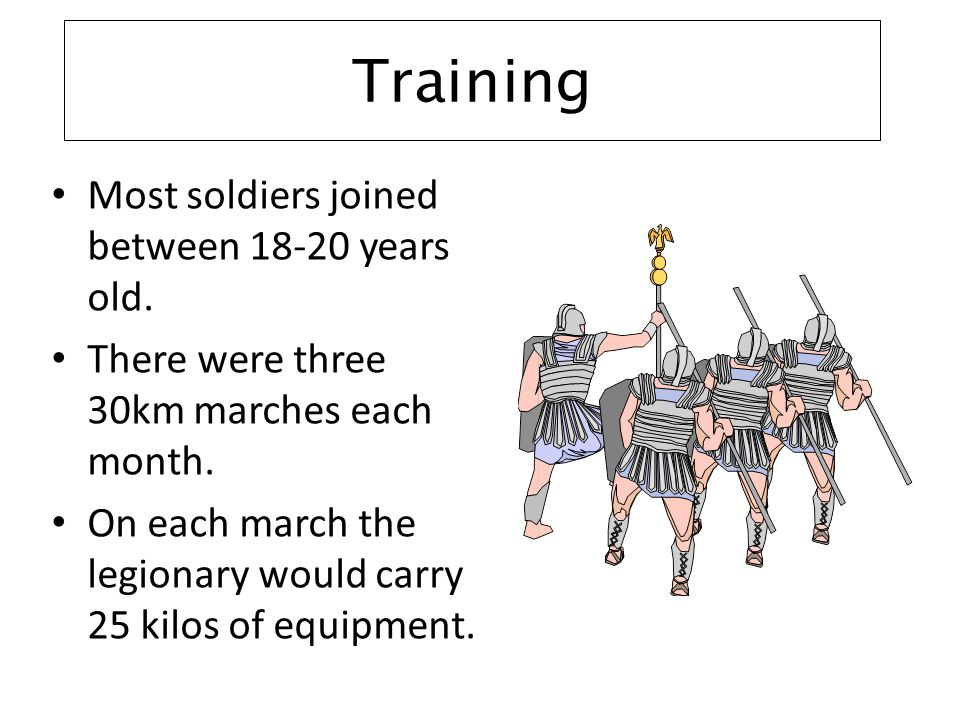 Training Most soldiers joined between 18-20 years old.