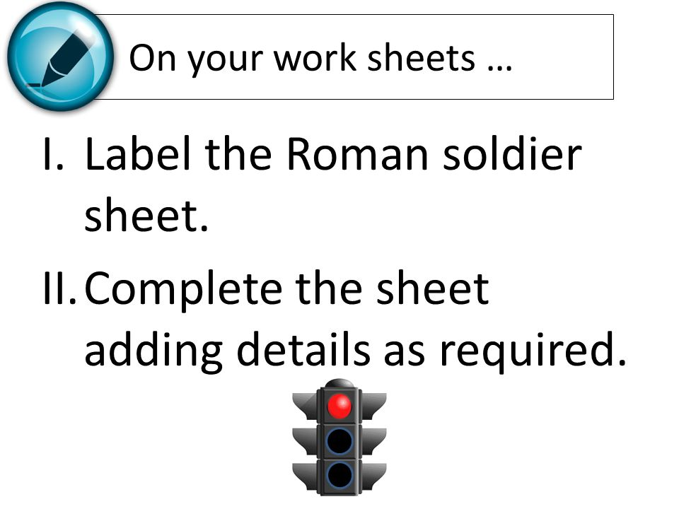 Label the Roman soldier sheet.
