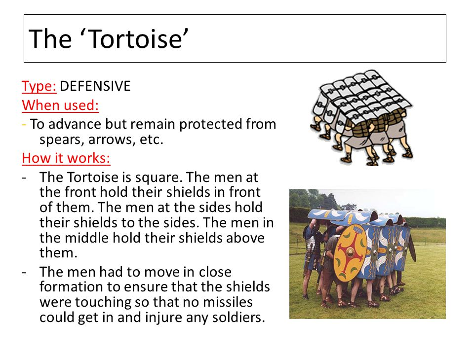 The 'Tortoise' Type: DEFENSIVE When used: