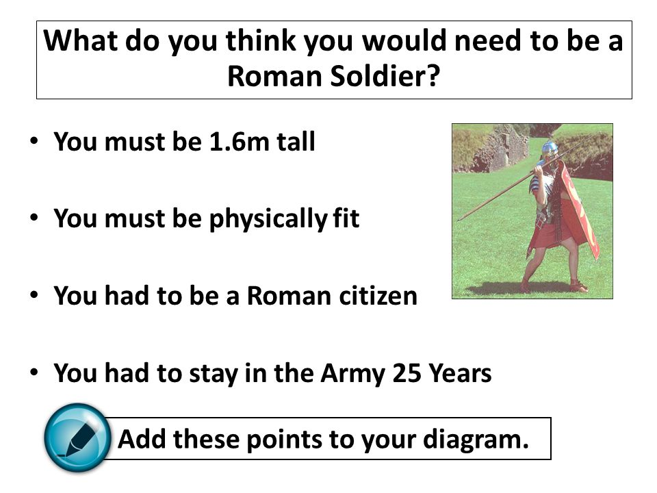 What do you think you would need to be a Roman Soldier
