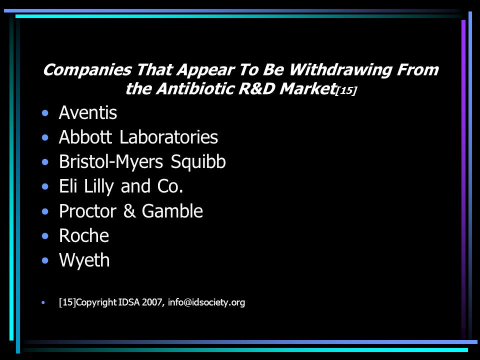 Aventis Abbott Laboratories Bristol-Myers Squibb Eli Lilly and Co.