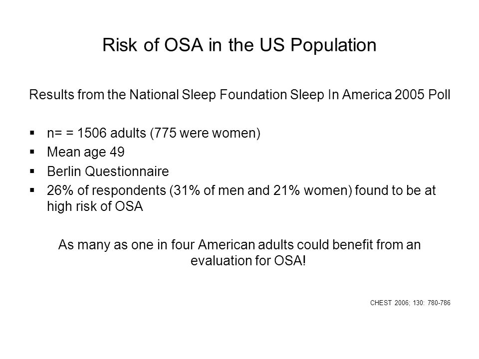 Risk of OSA in the US Population