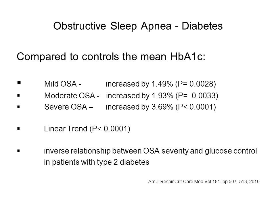 Obstructive Sleep Apnea - Diabetes