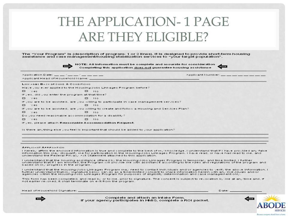 The Application- 1 page Are they eligible