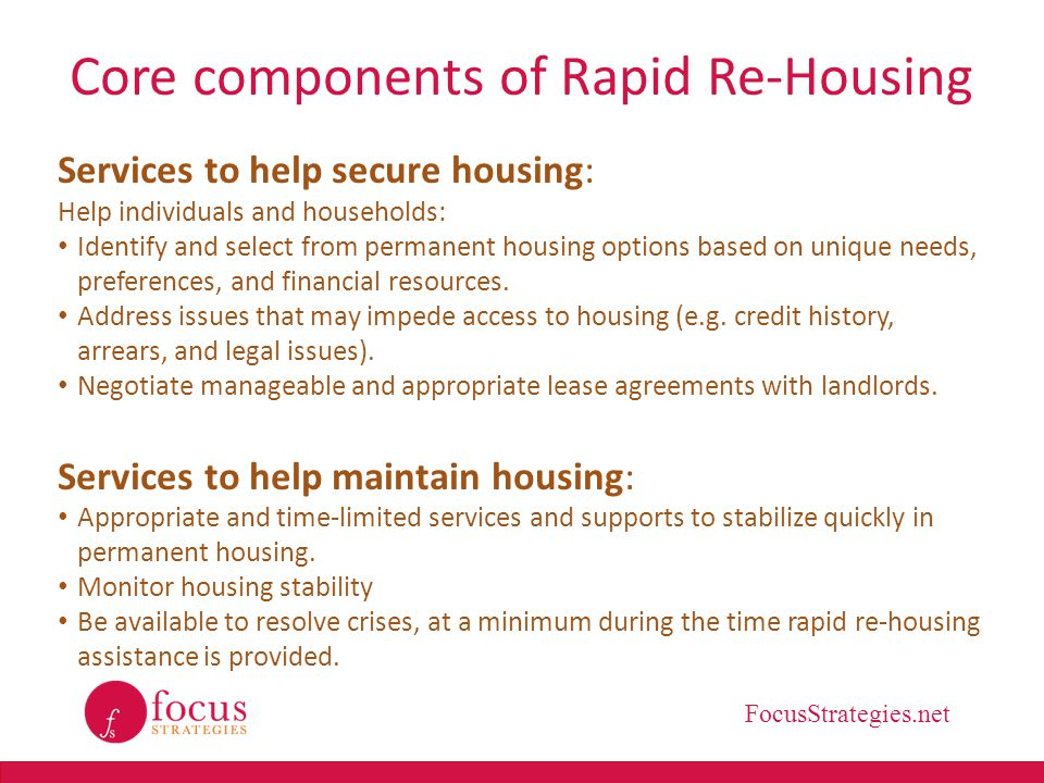 Core components of Rapid Re-Housing