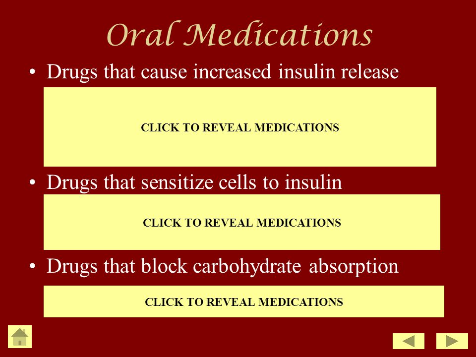Oral Medications Drugs that cause increased insulin release