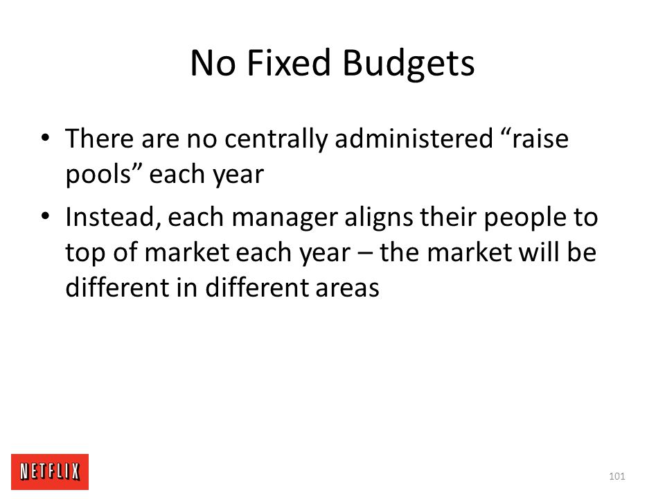 No Fixed Budgets There are no centrally administered raise pools each year.