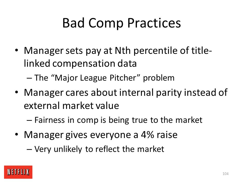 Bad Comp Practices Manager sets pay at Nth percentile of title-linked compensation data. The Major League Pitcher problem.