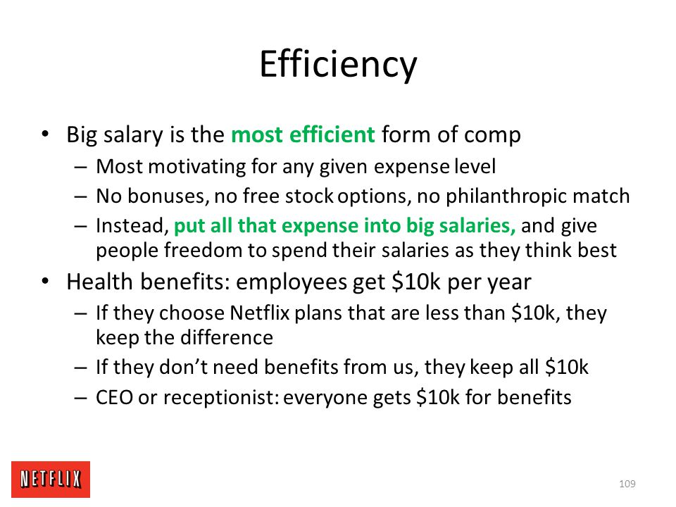 Efficiency Big salary is the most efficient form of comp