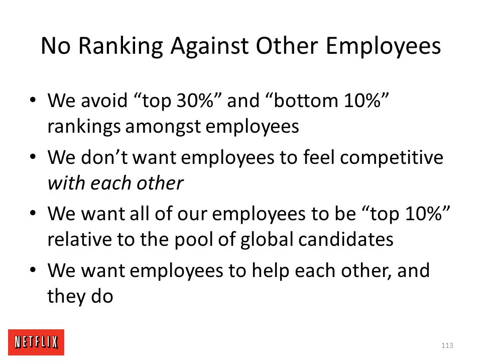No Ranking Against Other Employees
