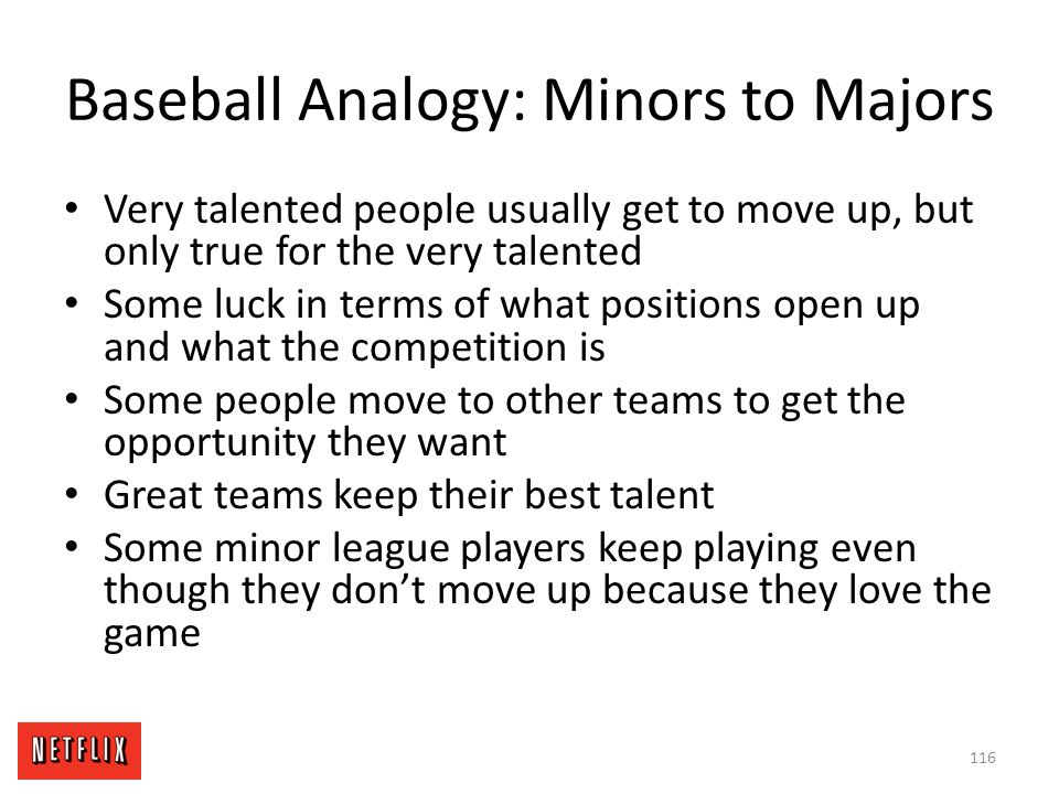 Baseball Analogy: Minors to Majors