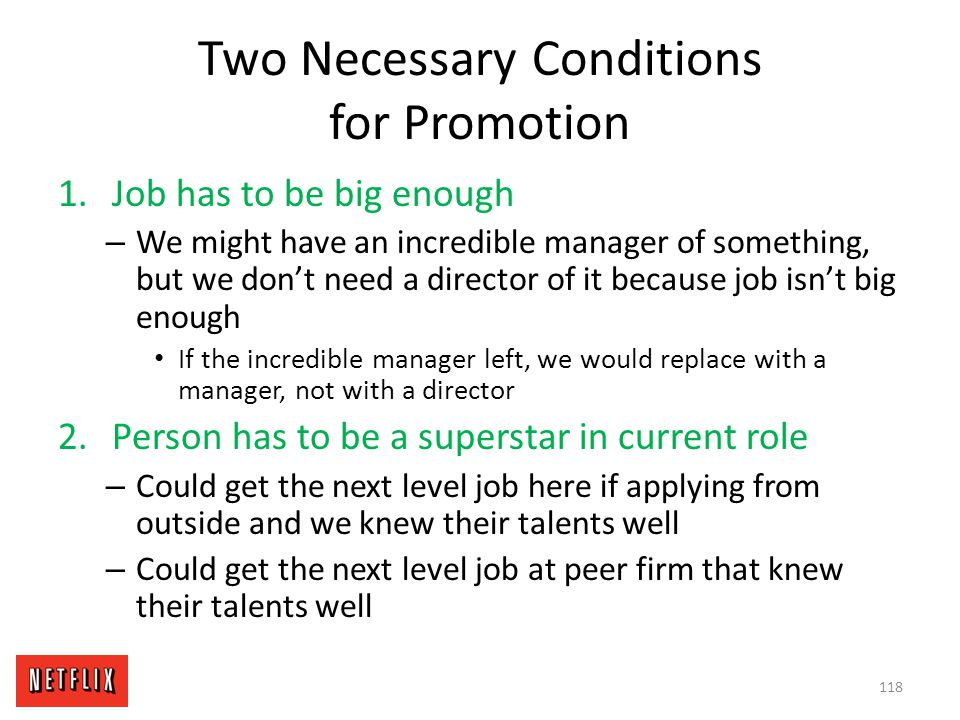 Two Necessary Conditions for Promotion
