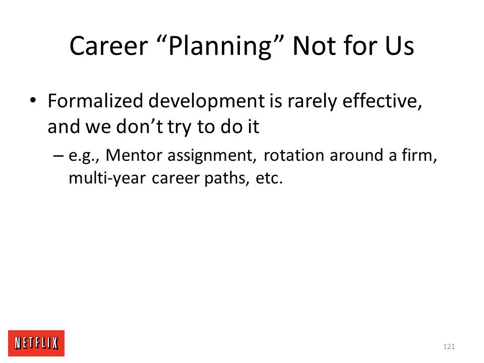 Career Planning Not for Us