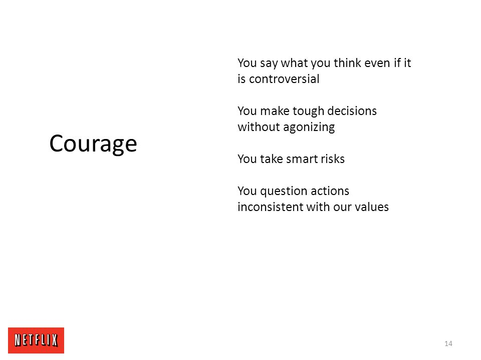 Courage You say what you think even if it is controversial