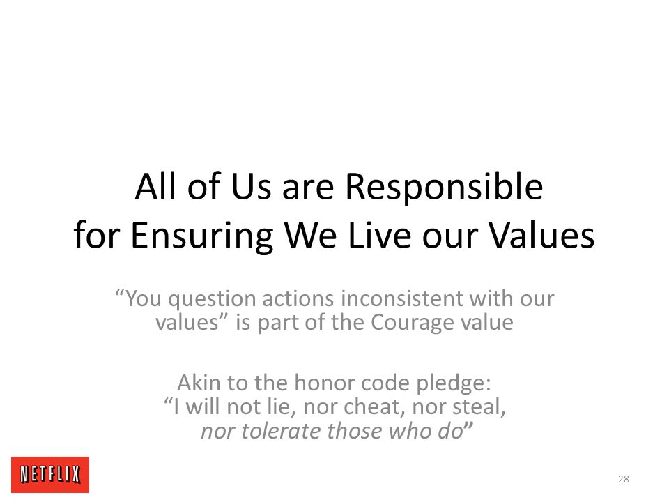 All of Us are Responsible for Ensuring We Live our Values