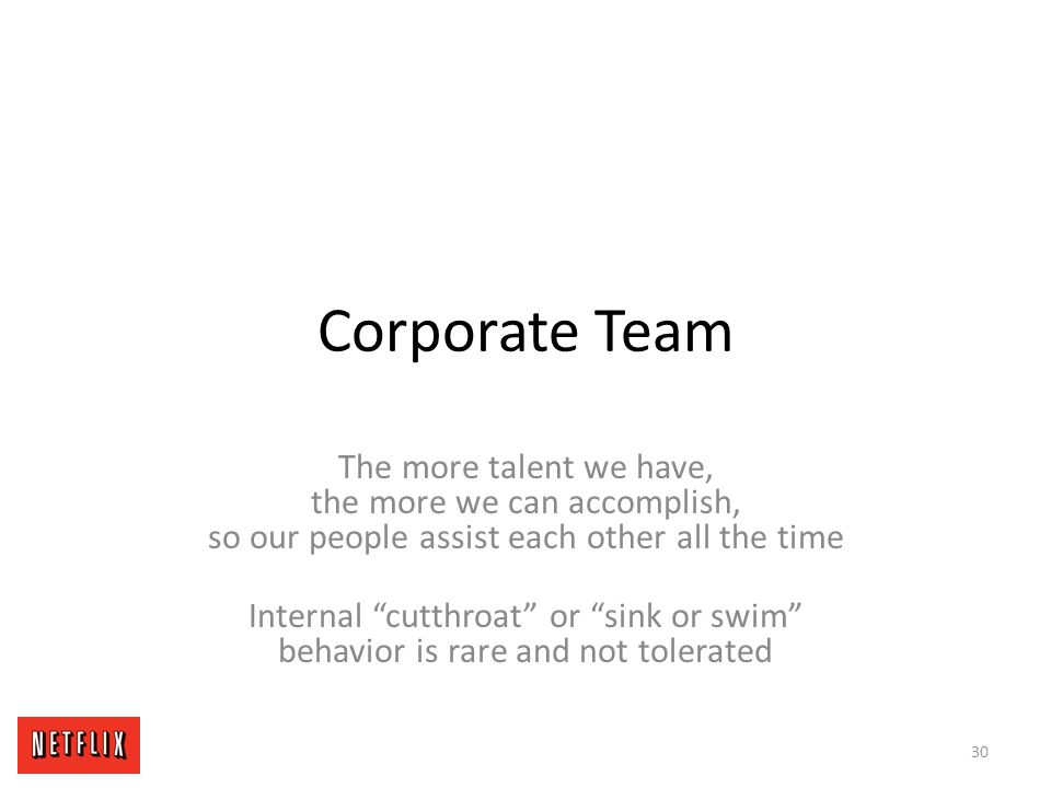 Corporate Team The more talent we have, the more we can accomplish, so our people assist each other all the time.