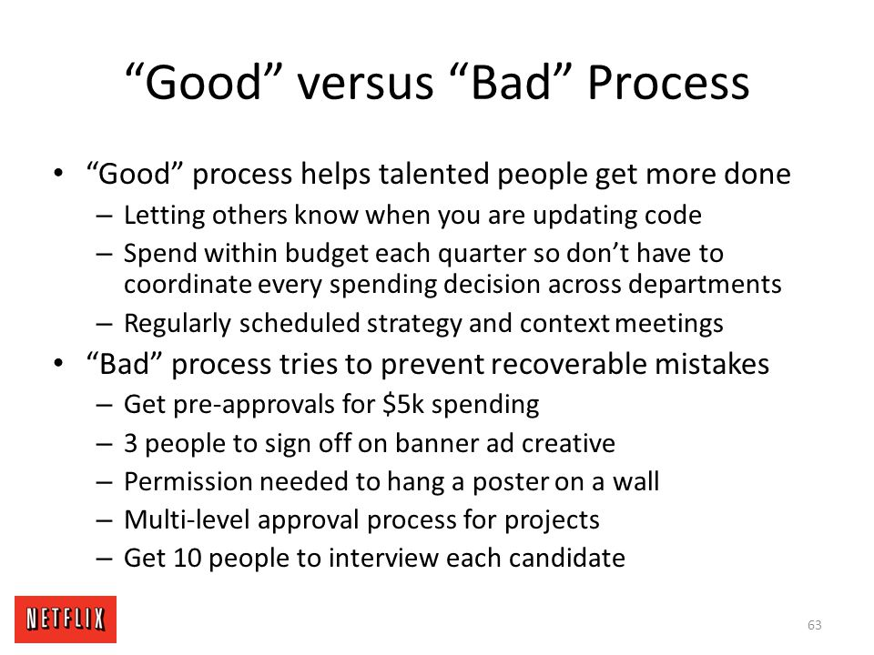Good versus Bad Process