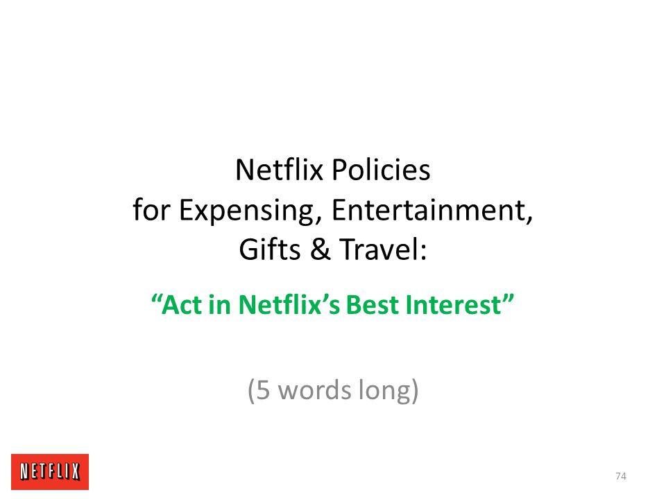 Netflix Policies for Expensing, Entertainment, Gifts & Travel: