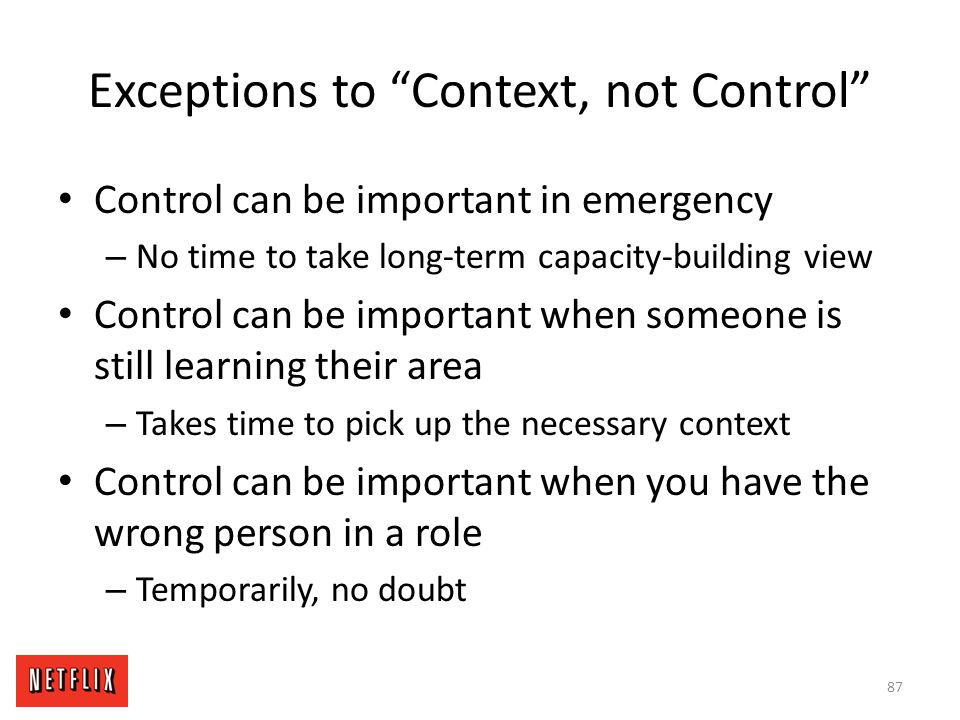 Exceptions to Context, not Control