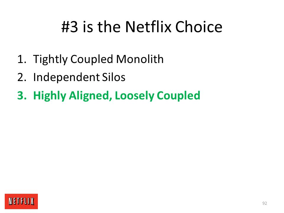 #3 is the Netflix Choice Tightly Coupled Monolith Independent Silos