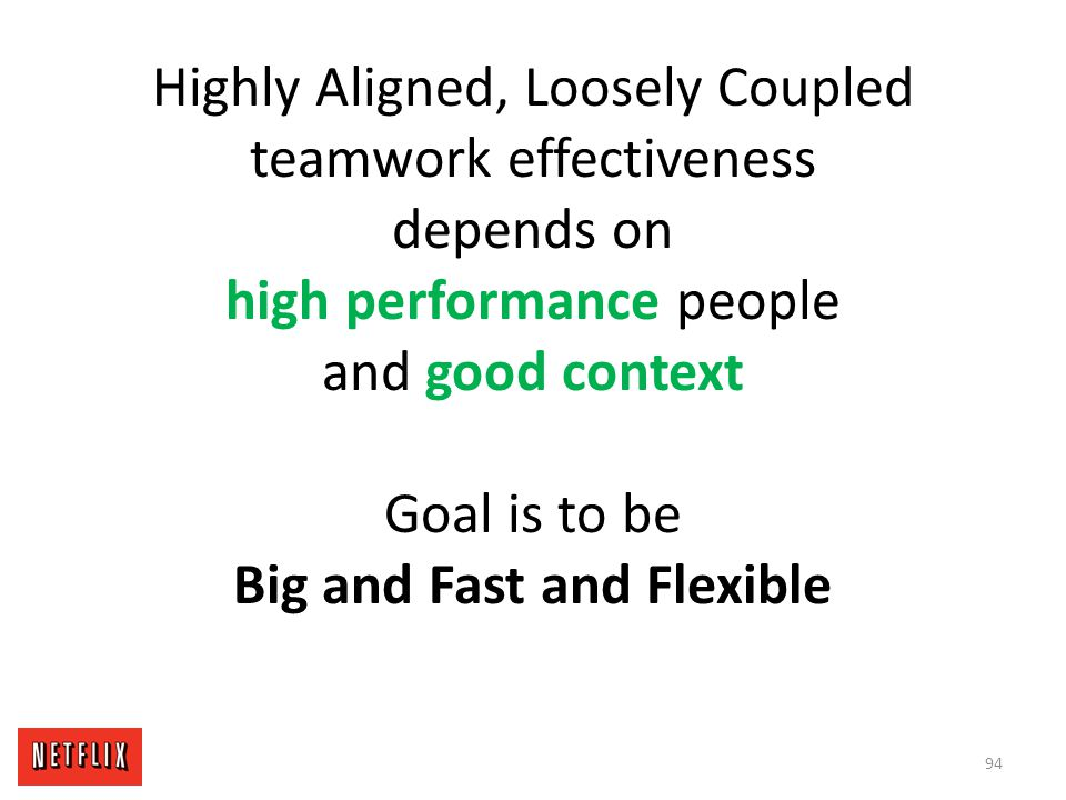 Highly Aligned, Loosely Coupled teamwork effectiveness depends on high performance people and good context Goal is to be Big and Fast and Flexible