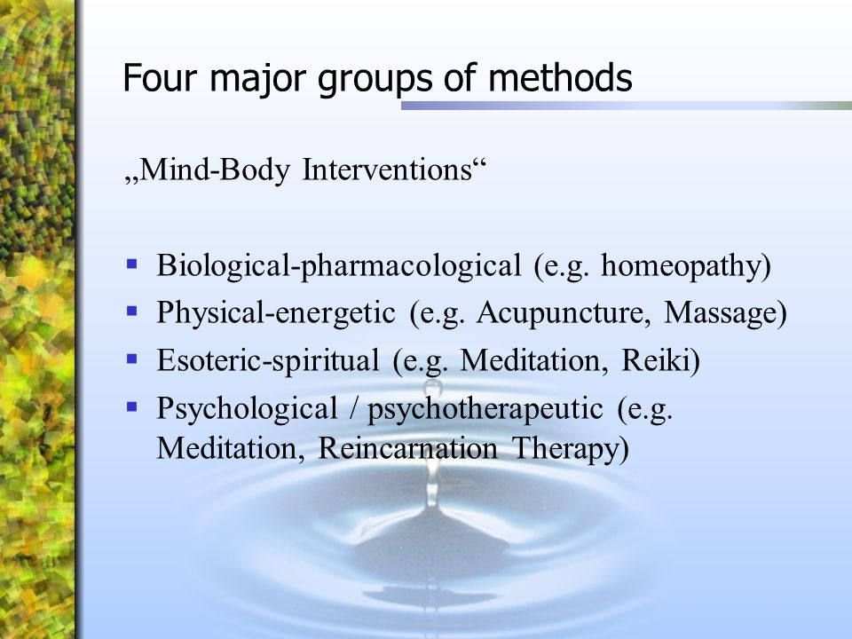 Four major groups of methods