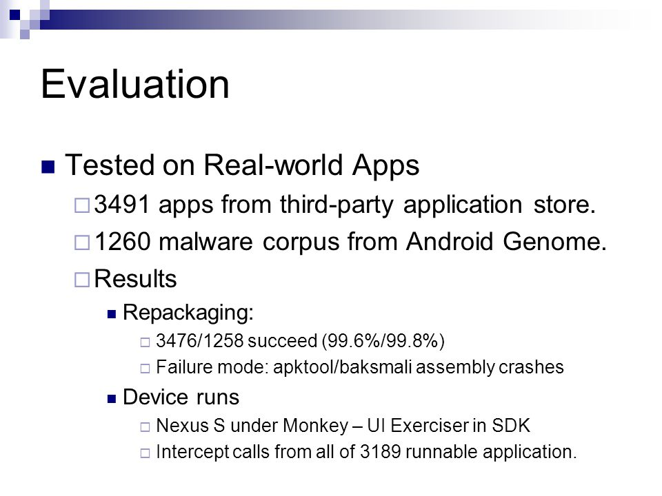 Evaluation Tested on Real-world Apps