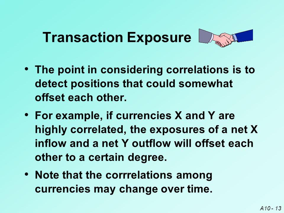 Transaction Exposure The point in considering correlations is to detect positions that could somewhat offset each other.