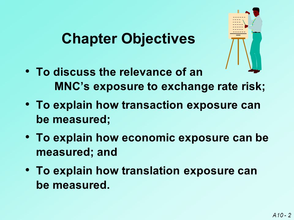 Chapter Objectives To discuss the relevance of an MNC's exposure to exchange rate risk; To explain how transaction exposure can be measured;