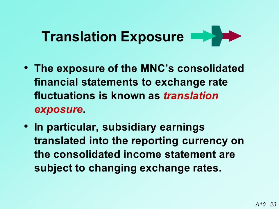 Translation Exposure The exposure of the MNC's consolidated financial statements to exchange rate fluctuations is known as translation exposure.