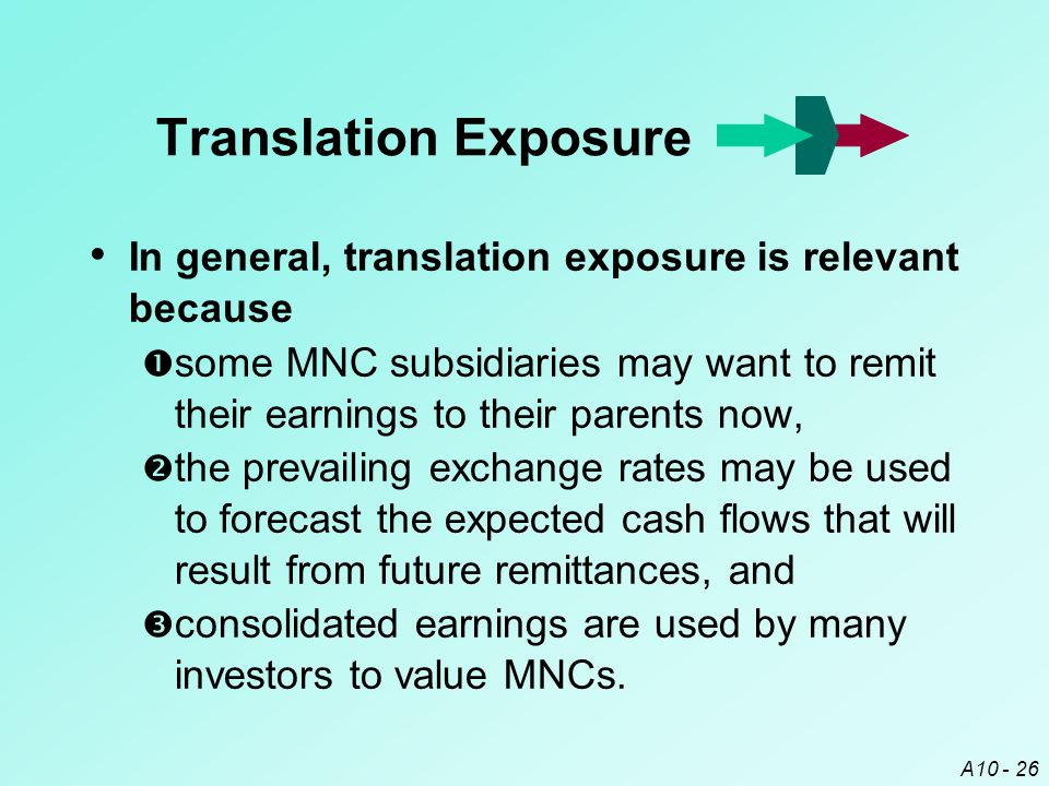 Translation Exposure In general, translation exposure is relevant because.