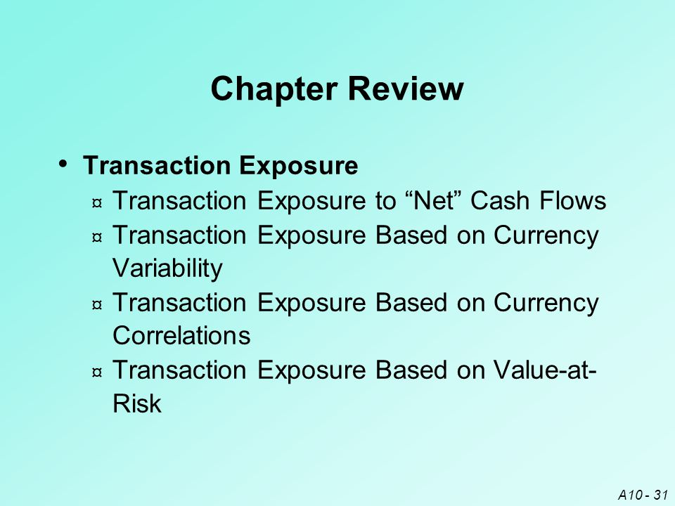 Chapter Review Transaction Exposure