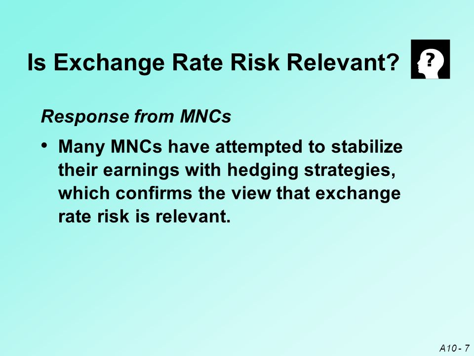 Is Exchange Rate Risk Relevant