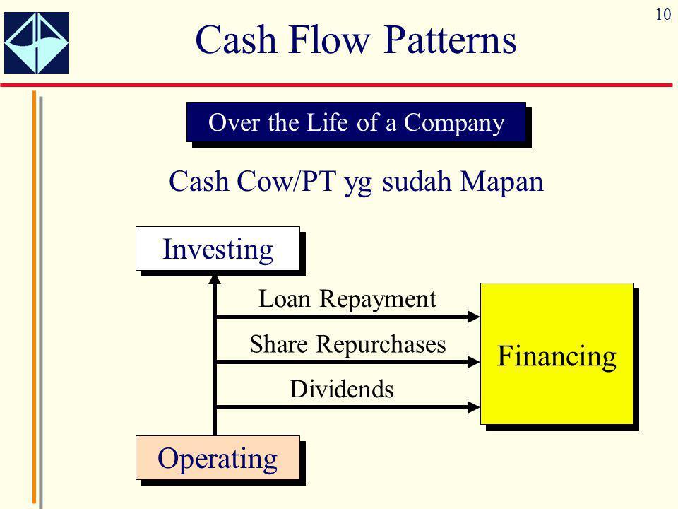 Cash Flow Patterns Cash Cow/PT yg sudah Mapan Investing Financing