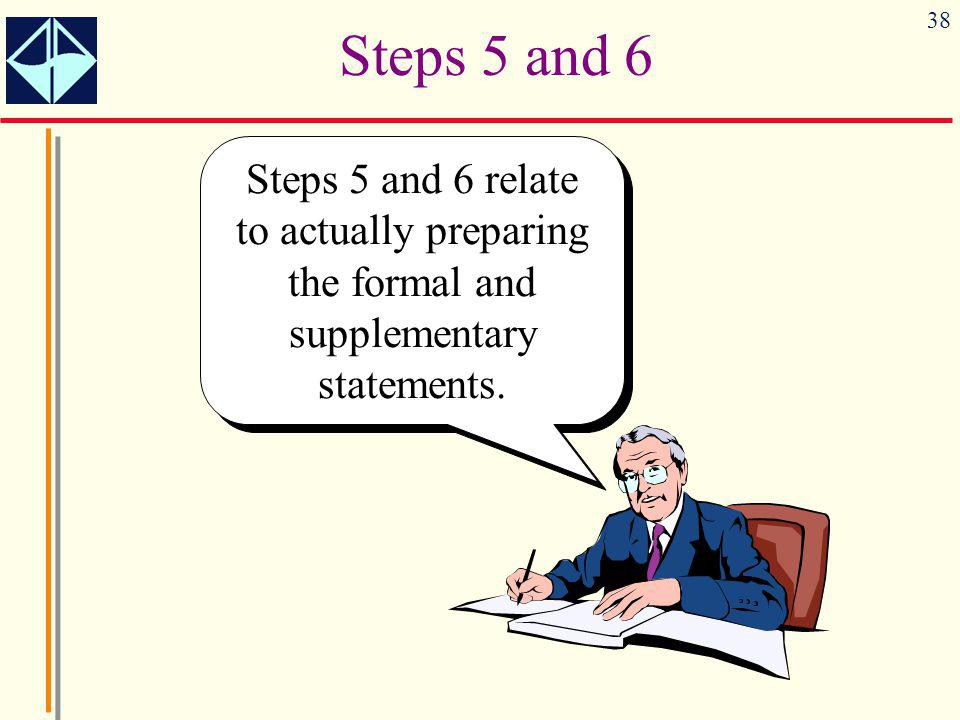 Steps 5 and 6 Steps 5 and 6 relate to actually preparing the formal and supplementary statements.