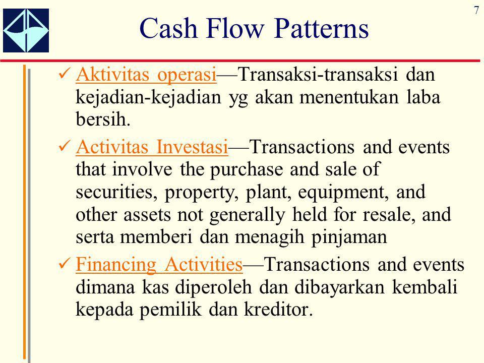 Cash Flow Patterns Aktivitas operasi—Transaksi-transaksi dan kejadian-kejadian yg akan menentukan laba bersih.