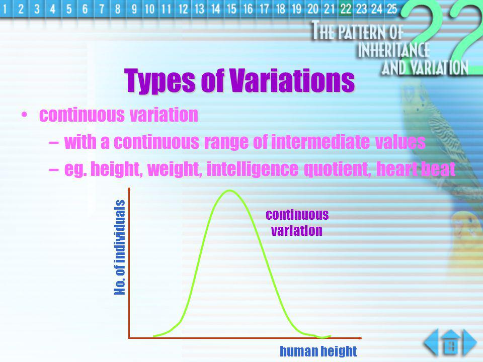 Types of Variations continuous variation