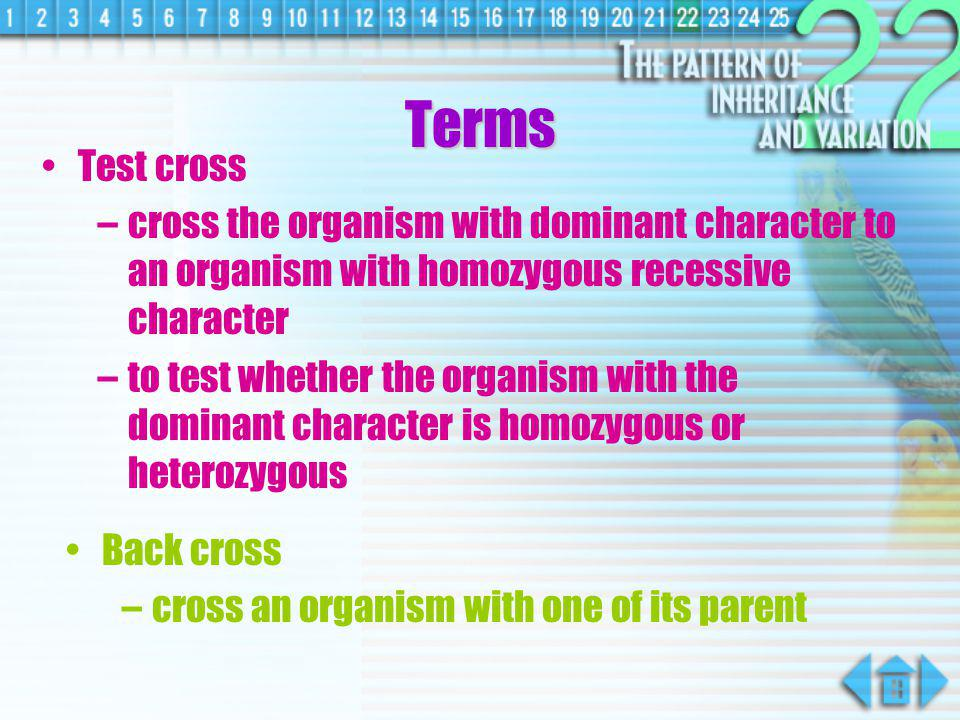Terms Test cross. cross the organism with dominant character to an organism with homozygous recessive character.
